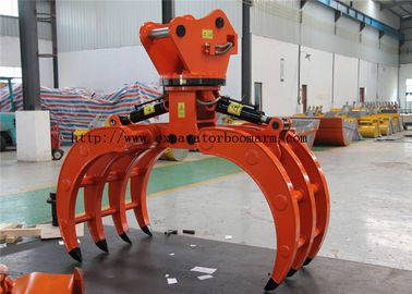 Oem Hydraulic Rotating Grapple / Backhoe Grapple Attachments For Wood Stone Grab